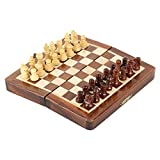 #6: Pytho Handmade Wooden Chess Set with Magnatic Board and Hand Carved Chess Pieces | Size 7 X 7 Inches (Open), 7 X 3.5 Inches (Folded) | Pocket Travel Chess