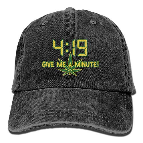 Weed 419 Give Me A Minute Adjustable Travel Cotton Washed Denim Hat Navy -
