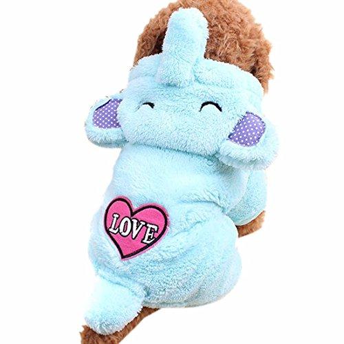 QIYUN.Z Hund, Katze, Korallen Samt Blauen Elefanten Winter Pullover Liebe Herz (Kostüm Tier Liebe)