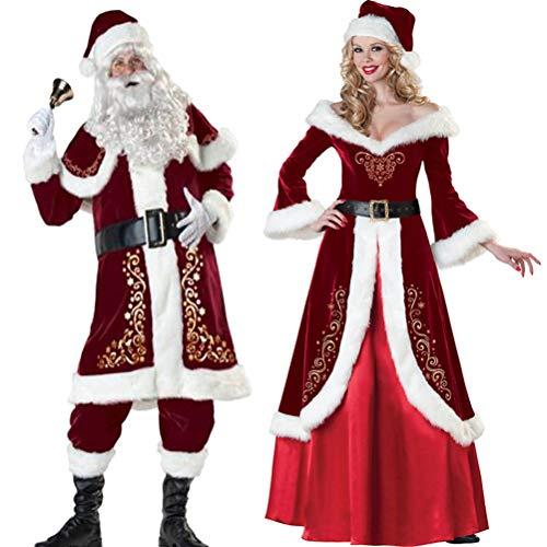 DDPP Lunghe Costumi Manica di Natale Addensare Costumi di Prestazione di Babbo Natale Coppie Costumi Adulti del Partito,C,XL