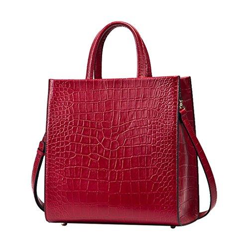 Mena UK Designer di prima mano del modello di cuoio del coccodrillo del cuoio di stile Grande borsa della borsa della spalla del sacchetto di Tote ( Colore : Arancia , dimensioni : 28.5cm*29.5cm*15cm  Rosso