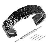 Beauty7 - 20mm Glänzend Schwarz Edelstahl Uhrenarmband Uhrenarmbänder Ersatzarmband mit Faltschließe Metall Uhr Armband Zubehör 4 Federstege + Federstift