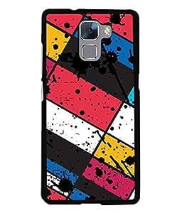 Fabcase spill colour splash art rectangular multicolour boxes Designer Back Case Cover for HUAWEI HONOR 7