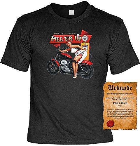 T-Shirt mit Urkunde - Ride a Classic - Fill'er Up - lustiges Sprüche Shirt als Geschenk für echte Biker mit Humor - NEU mit gratis Zertifikat! Schwarz