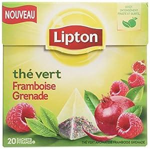 Lipton Thé Vert Framboise Grenade 20 Sachets 28g - Lot de 6