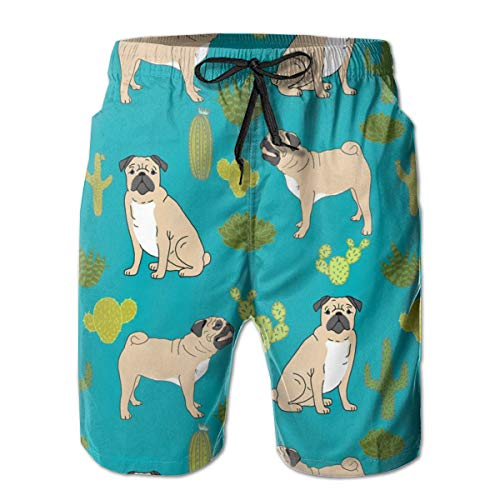 hulili Men's Quick Dry Swim Trunks Pugs and Cactus Pet Dog Pet Doggy Cactuses Cute Trendy Plants Turquoise Dog Owners Colorful Beach Shorts with Mesh Lining - Muster Swim Trunk