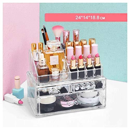 Étui de Maquillage Cosmétique Boîte de Rangement avec des Dessins Maquillage et boîte à Bijoux Rouge à lèvres Présentoir Brosse Support Multifonction 2 Niveaux Non-Acrylique UOMUN