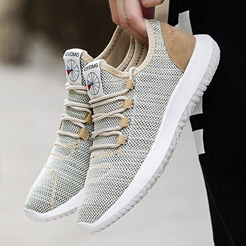 Sneaker Fashion Mesh Round Sneakers traspiranti piatte Scarpe da corsa Scarpe casual da uomo (39 EU,Cachi)