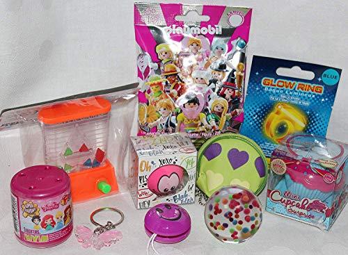Geschenkpost24 110109 Mitgebsel f. Mädchen 10er mit Mini Cupcake Doll für Adventskalender oder Geburtstagsgeschenk mit Playmobil Blindbag Blink Flummi Glow Ring