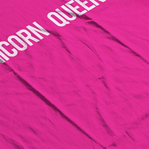 Cloud City 7 Unicorn Queen Text Womens T-Shirt Hot Pink