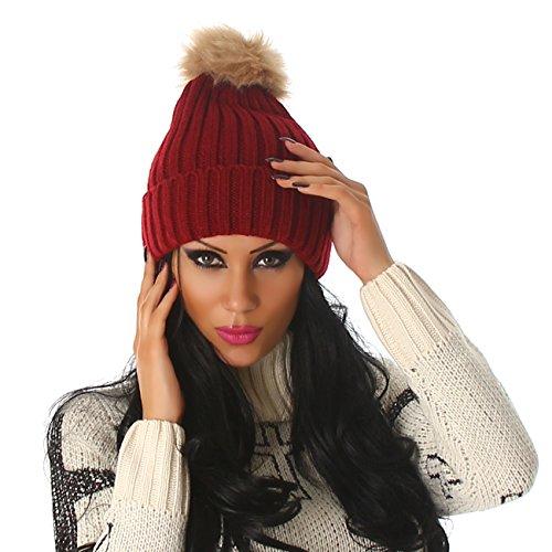 Jela Londres dames bonnet tricoté faux chapeau de fourrure pompon One Size Bordeaux
