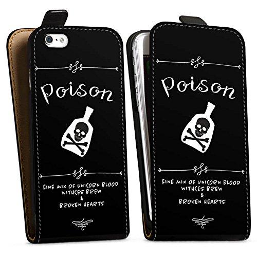 Apple iPhone 6s Plus Silikon Hülle Case Schutzhülle Poison Halloween Totenkopf Downflip Tasche schwarz