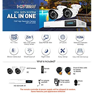 HView-Home-Security-Camera-System-4-channel-H264-720P-Hybrid-DVR-Recorder-2x-720P1200TVL-10-Megapixel-Day-Night-Vision-IR-Weatherproof-Outdoor-CCTV-Camera-Video-Surveillance-Kit-No-HDD