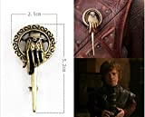 Buy any 2 & get 1 FREE! 5 cm Small Game of Thrones Antique Light Gold Brooch Pin Badge Hand To The King Tywin Lannister GOT Dragon Steampunk Song Ice Fire Lapel And Metal Stark Silver Replica Unique Fashion Jewellery Silver or Gold Double Vintage Hot Fashion Trend (5 cm Small Antique Light Gold)
