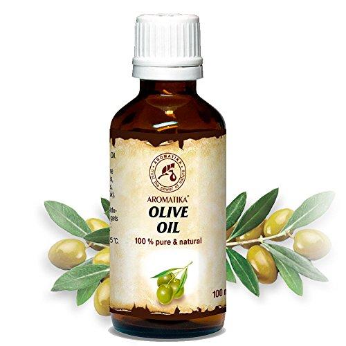 Aceite de Oliva 100ml - Olea Europaea Fruit Oil - España - Presión en Frío - 100% Puro y Natural - Botella de Vidrio - Cuidado Intensivo para el Rostro - para Cuerpo - Cabello - para Masaje - Cuidado Corpora de Aromatika