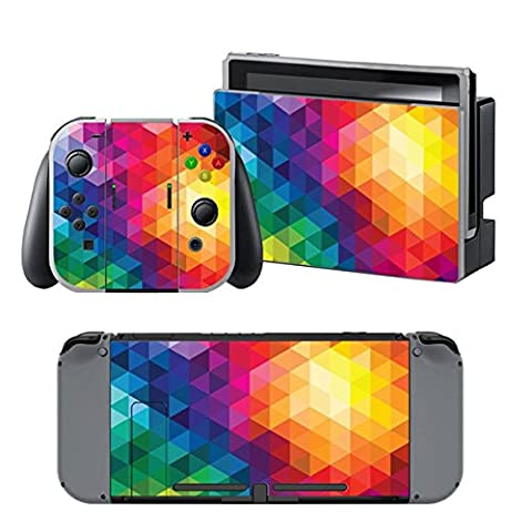 Chickwin Nintendo Switch Skin Vinyl Autocollant Decal Protection Sticker pour Nintendo Switch + 2 Thumb Grips (Couleur Triangle)