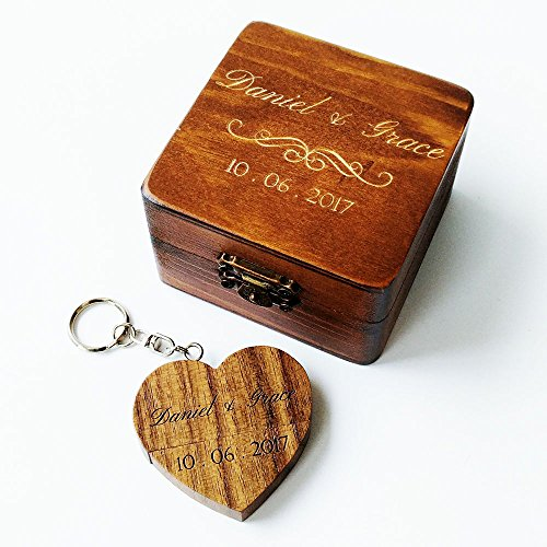 Personalised Wooden Heart Shaped Walnut 8GB USB Flash Drive, Engraved Wood USB Drive Custom Wooden Box, Wedding Photo Storage Gift, Birthday Gift, Business Promotional Gift(USB in wooden box)