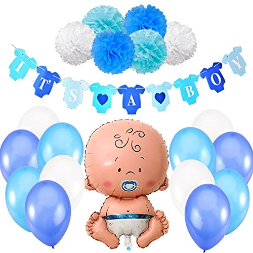 Babyparty Junge / Baby Shower Junge / Babyparty Deko - It's a Boy Blau Girlande + 1 XXL Neugeborene Folienballoon + 6 Blumenpuscheln + 12 Ballons. Baby Party / Babydusche Dekorations by Jonami
