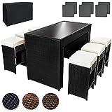 TecTake Poliratán Aluminio Conjunto Barra de Bar y 6 taburetes para jardin de Ratán + Set de fundas intercambiables + Funda completa - disponible en diferentes colores - (Negro | No. 401181)