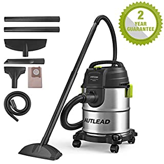 AUTLEAD Wet and Dry Vacuum Cleaner, 1000W 20L Vacuum Cleaner with Silencer, 3-in-1 Multifunction Wet/Dry/Blowing, Stainless Metal Tank, Powerful 19Kpa Suction, Suitable for Indoor and Outdoor