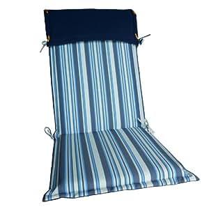 Matelas de chaise - Assise - Rayé bleu et blanc - Dimensions: env.120x50cm - Epaisseur: 5cm