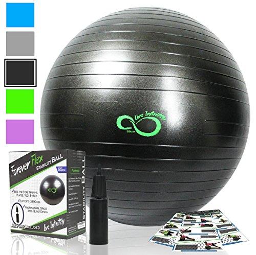 Live Infinitely Ballon de Klein – Équipement d'exercice de qualité professionnelle, testé anti-crevaison avec pompe manuelle – Supporte 1 000 kg 85 cm Noir