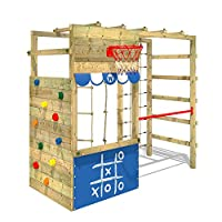 WICKEY Climbing Frame Smart Action Wooden Climbing Tower with a Climbing Wall, Monkey Bars and a lot of Accessories