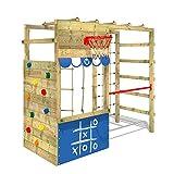 WICKEY Parco giochi in legno Smart Action Giochi da giardino blu, Struttura di gioco per bambini, Torre di arrampicata da giardino