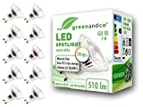 10x greenandco CRI90+ LED Spot ersetzt 60 Watt GU10 Halogenstrahler, 7W 510 Lumen 3000K warmweiß SMD LED Strahler 36° 230V AC Glas mit Schutzglas, nicht dimmbar, flimmerfrei, 2 Jahre Garantie