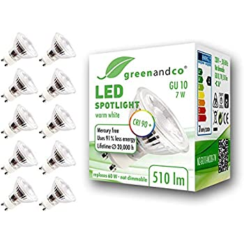10x Spot LED greenandco® IRC90+ GU10 7W (corresponde a 60W) 510lm 3000K (blanco cálido) SMD LED 36° 230V AC, sin parpadeo, no regulable