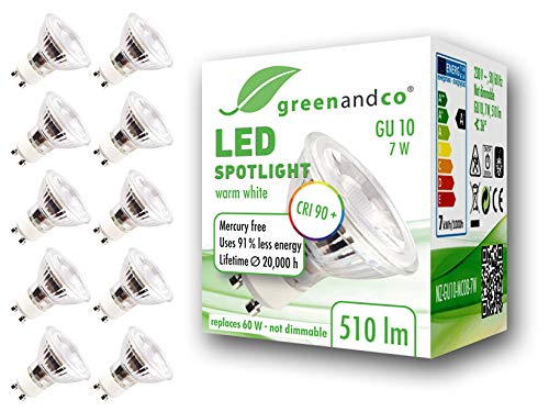 10x Spot LED greenandco® IRC90+ GU10 7W