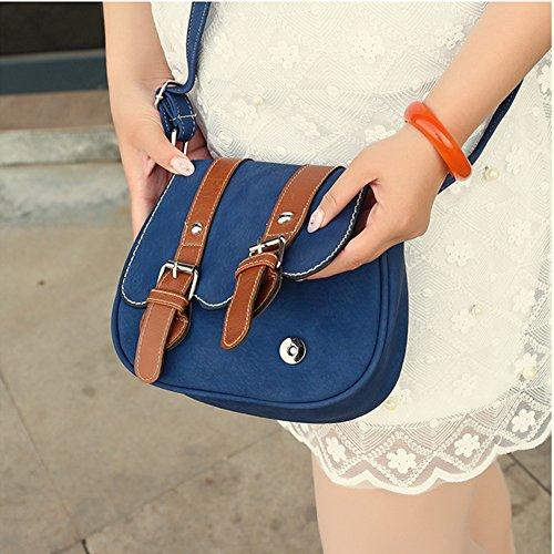 Sac a Main pour Femme Rétro Classique Sac à bandouliere Fourre-tout Porté Epaule Loisirs Bleu