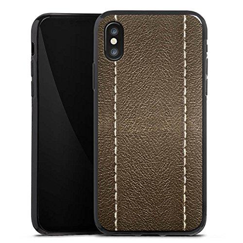 Apple iPhone X Silikon Hülle Case Schutzhülle Braunes Leder Look Lederstruktur Silikon Case schwarz