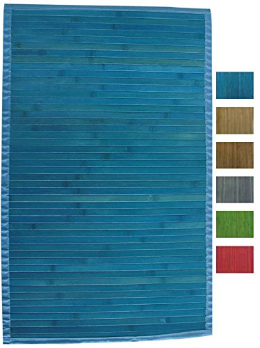MSV 140524 - Tappetino in bambù, Dimensioni 80 x 50 x 0,1 cm, Colore Blu