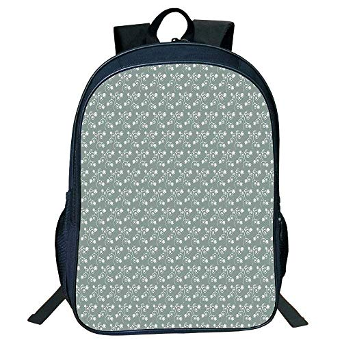 HOJJP Schultasche Stylish Unisex School Students Black Floral,Spring Meadow Themed Swirled Twigs Tulips Buds,Light Sage Green White Kids, - Spring Meadow Green
