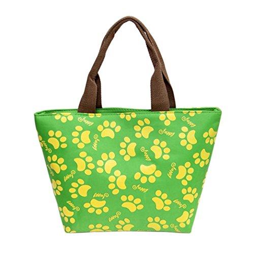 Coloré(TM) Sac Repas Lunch Bag Sac à Déjeuner Isotherme Fourre-tout de pique-nique fourre-tout isolé thermique (Vert)