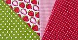 Muster-Mix Erdbeeren weiß 4 x 0,5m 100% Baumwolle