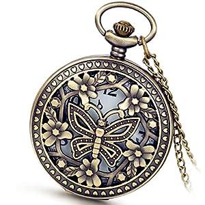 Avaner Taschenuhr für Damen Herren, Analog Quarzwerk mit Kette Steampunk Schmetterling Blumen Bronze, Vintage Pocket Watch for Men Women