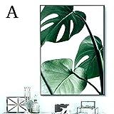 Bloomma Wandbilder Schlafzimmer leinwand Bild ohne Rahmen für zu Hause Moderne Dekoration Pflanze grünes Blatt Muster (A: 30 * 40cm)
