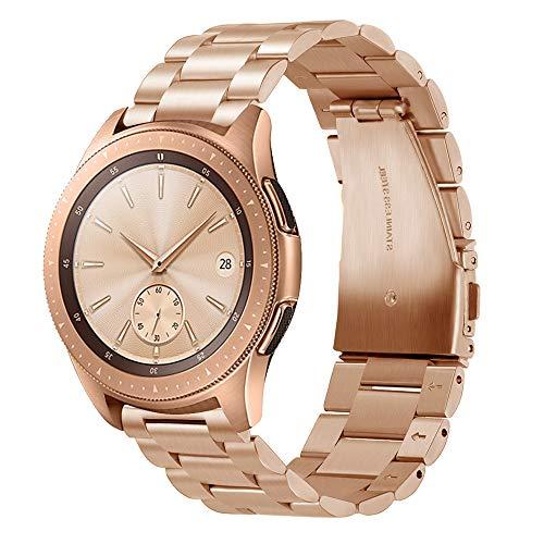 GOSETH für Samsung Galaxy Watch 42mm Armband,Solid Edelstahl Metall Business Ersatzarmband mit Doppel-Taste Schmetterling Verschluss für Samsung Galaxy SM-810/SM-R815 Fitness Smart Watch (Rose Gold) 810 Rosen