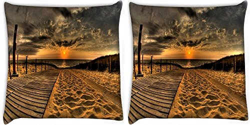 snoogg-sunset-sea-sand-pack-of-2-digitally-printed-cushion-cover-pillows-20-x-20-inch