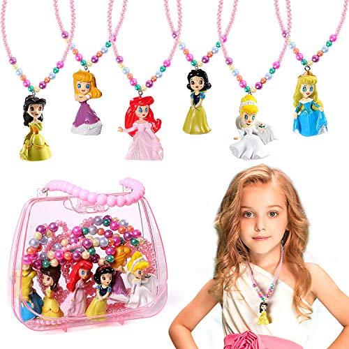 Kostüm Party Tee Kind Prinzessin - B Bascolor 6stk Prinzessin Halskette Schmuck Mädchen Prinzessin Halskette Kostüm Zubehör für Prinzessin Cinderella Ariel Belle Aurora Kindergeburtstag Mitbringsel
