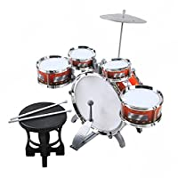 ISO TRADE Children 5-Piece Beginners Drum Kit Set Musical Toy Instrument Stool Percussion Playset 1551