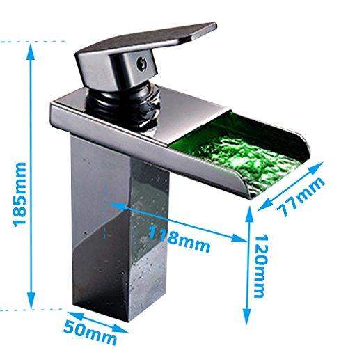 KINSE® Chrom LED RGB Licht Wasserhahn Armatur Spüle Wasserfall Waschtischarmatur Waschbecken mit Schläuche für Bad -