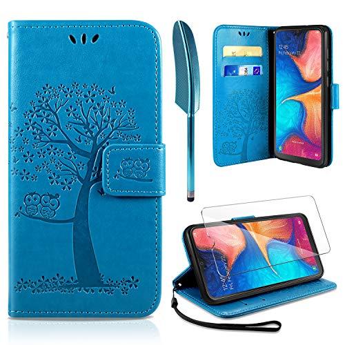 AROYI Samsung Galaxy A20e Hülle, Handyhülle Samsung Galaxy A20e Case Tasche Leder Flip Eule Baum Wallet Schutzhülle für Galaxy A20e Blau