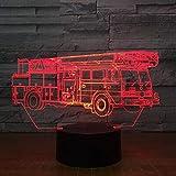 LKW Hebekran Auto 3D USB LED Nachtlicht Batterie Aa Power 7 Farbe Illusion Touch oder Fernbedienung Licht Kinderzimmer Licht
