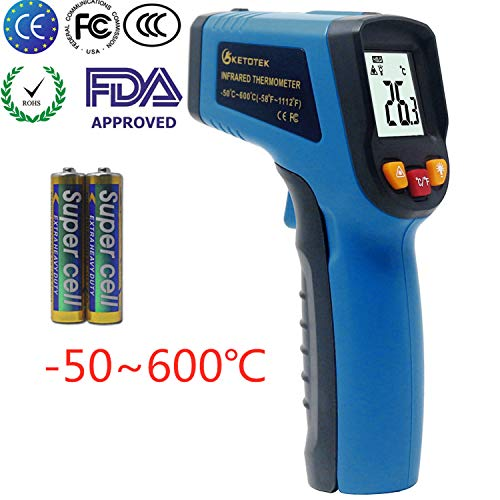 KETOTEK Termómetros Infrarrojos Láser Digital FDA Infrared Thermometer -50 ℃ - 600 (-58-1112) Sin Contacto Punto Termometros Pistola Termómetro de Alimentos Profesional Probador de Temperatura (Azul)
