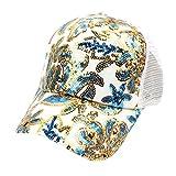 Quaan Frauen Sommer Blumendiamant Baseballmütze Hysteresen Kappen Hip Hop Hüte Baseball Mützen für Draussen Sport Oder auf Reisen Reine Farbe Baseboard Baseballkappe Mütze (Blau)
