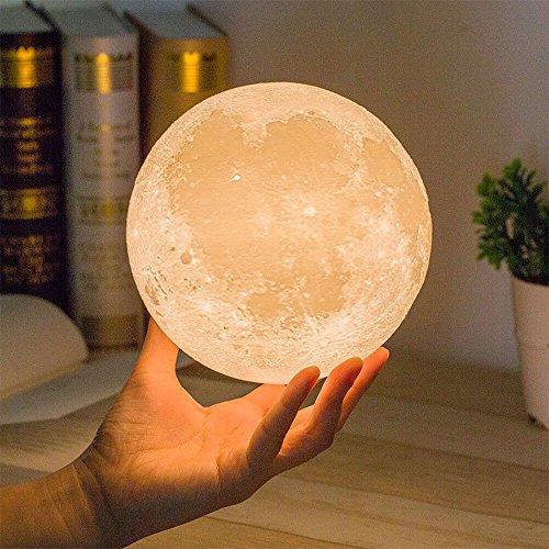 Enshey 3D Moon LED Night Light,Moonlight Table Desk Moon Lamp Cadeau Magique Lampe de Lune avec Base en Bois - 8cm/3.15in