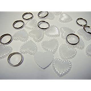ASCRAFTS HONGBE 50 WHITE FLAT BACK With SILVER RINGS Pearl Heart Shape Wedding Party Decorations